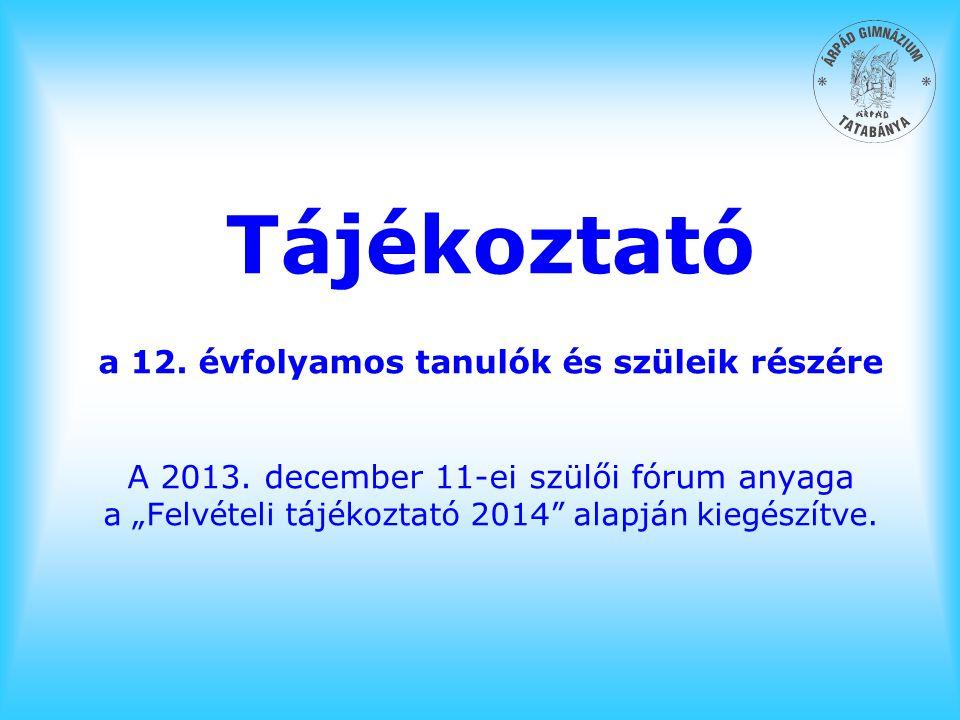 """Tájékoztató a 12. évfolyamos tanulók és szüleik részére A 2013. december 11-ei szülői fórum anyaga a """"Felvételi tájékoztató 2014"""" alapján kiegészítve."""