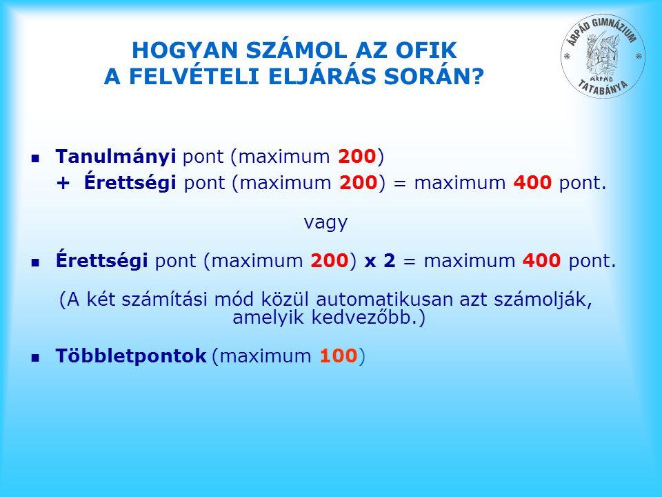 HOGYAN SZÁMOL AZ OFIK A FELVÉTELI ELJÁRÁS SORÁN? n Tanulmányi pont (maximum 200) + Érettségi pont (maximum 200) = maximum 400 pont. vagy n Érettségi p