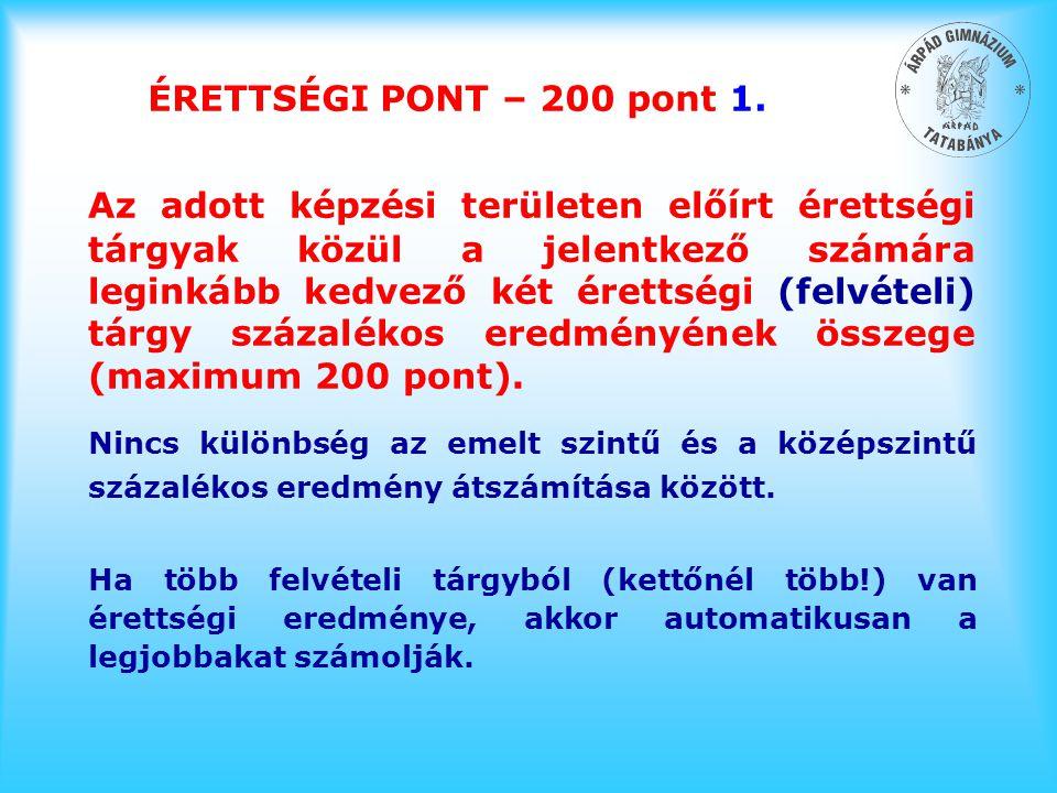 ÉRETTSÉGI PONT – 200 pont 1. Az adott képzési területen előírt érettségi tárgyak közül a jelentkező számára leginkább kedvező két érettségi (felvételi