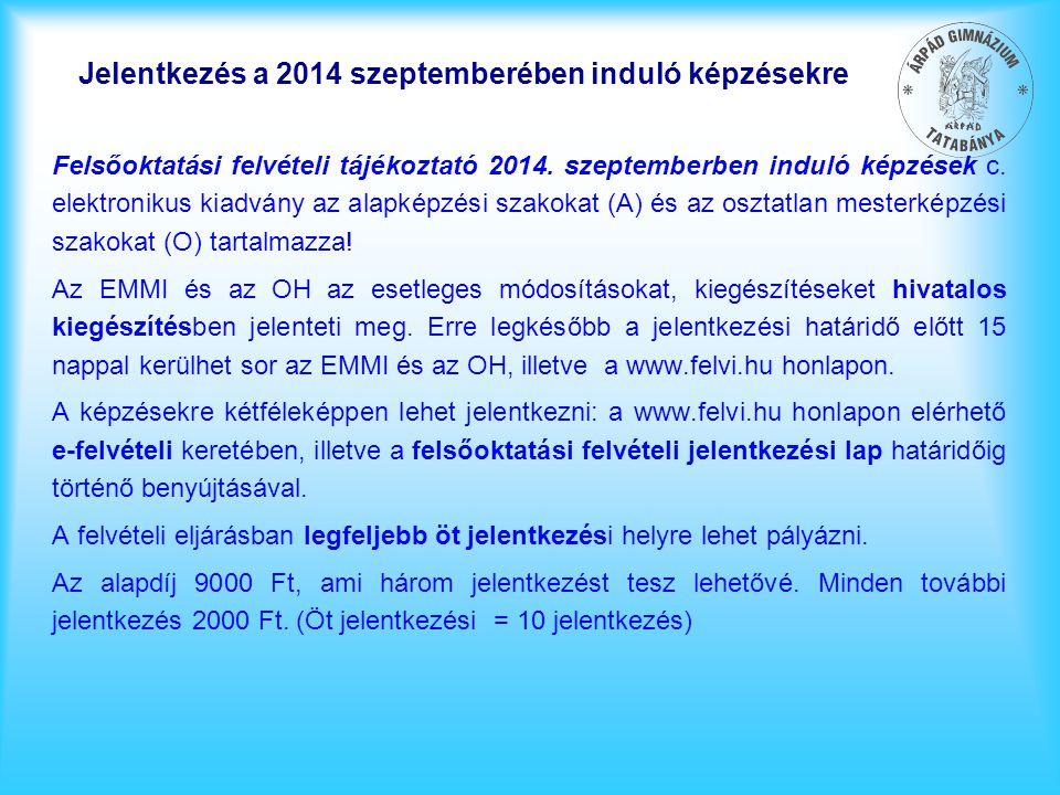 Jelentkezés a 2014 szeptemberében induló képzésekre Felsőoktatási felvételi tájékoztató 2014. szeptemberben induló képzések c. elektronikus kiadvány a