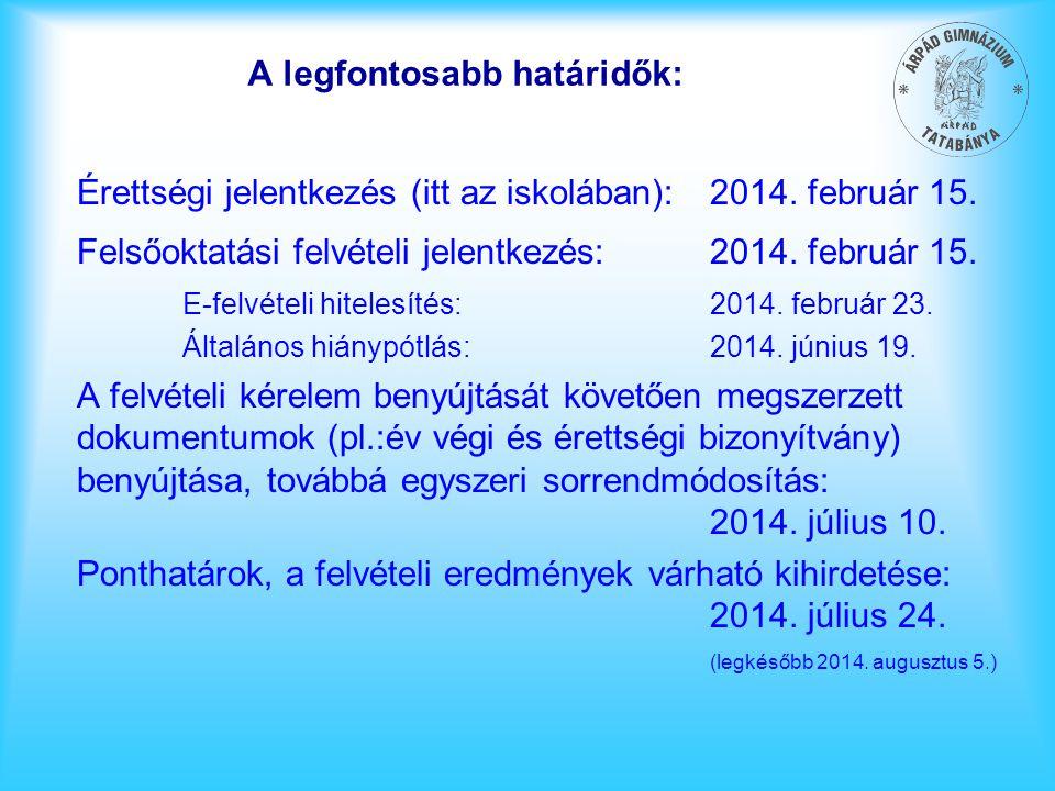 A legfontosabb határidők: Érettségi jelentkezés (itt az iskolában):2014. február 15. Felsőoktatási felvételi jelentkezés:2014. február 15. E-felvételi