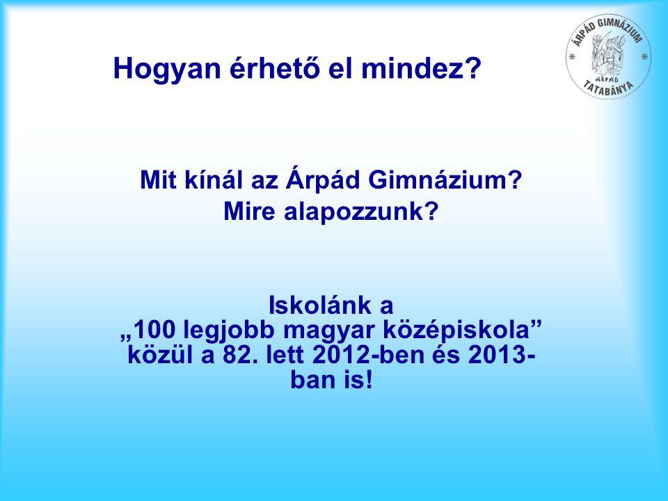"""Hogyan érhető el mindez? Mit kínál az Árpád Gimnázium? Mire alapozzunk? Iskolánk a """"100 legjobb magyar középiskola"""" közül a 82. lett 2012-ben és 2013-"""