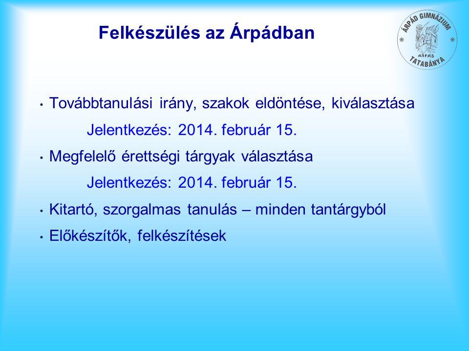 Felkészülés az Árpádban Továbbtanulási irány, szakok eldöntése, kiválasztása Jelentkezés: 2014. február 15. Megfelelő érettségi tárgyak választása Jel