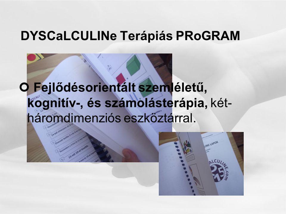 DYSCaLCULINe Terápiás PRoGRAM Fejlődésorientált szemléletű, kognitív-, és számolásterápia, két- háromdimenziós eszköztárral.