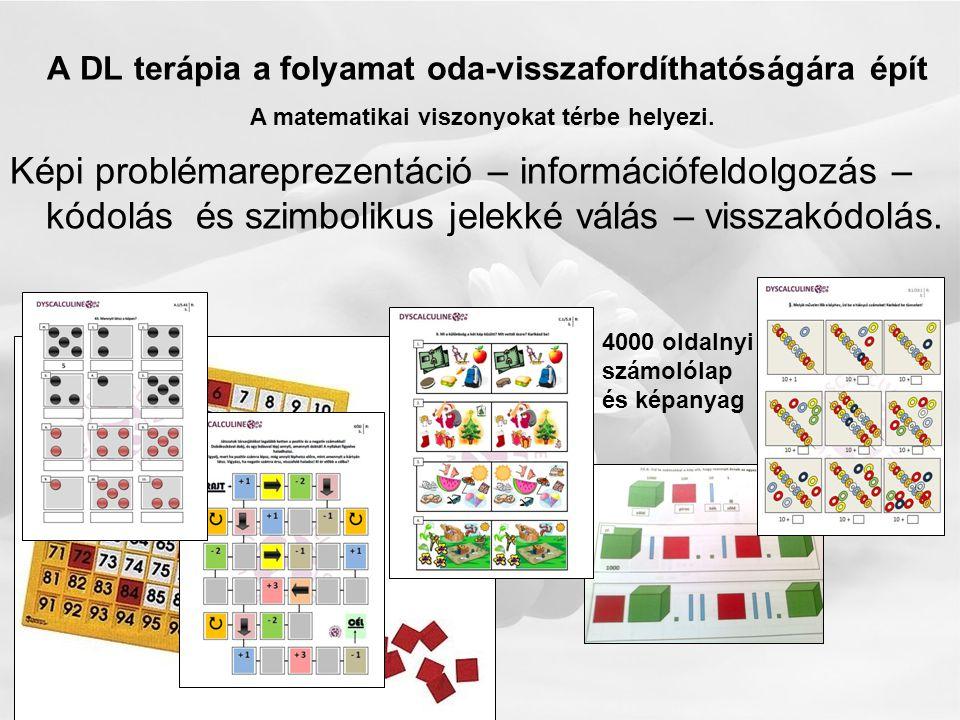 A DL terápia a folyamat oda-visszafordíthatóságára épít Képi problémareprezentáció – információfeldolgozás – kódolás és szimbolikus jelekké válás – visszakódolás.