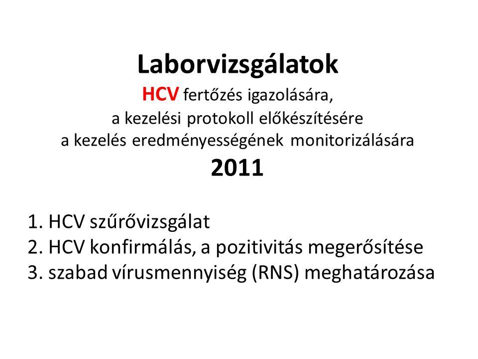 Laborvizsgálatok HCV fertőzés igazolására, a kezelési protokoll előkészítésére a kezelés eredményességének monitorizálására 2011 1. HCV szűrővizsgálat