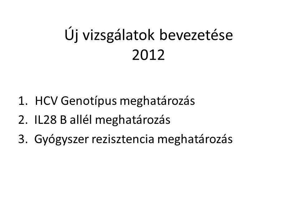 Új vizsgálatok bevezetése 2012 1.HCV Genotípus meghatározás 2. IL28 B allél meghatározás 3. Gyógyszer rezisztencia meghatározás