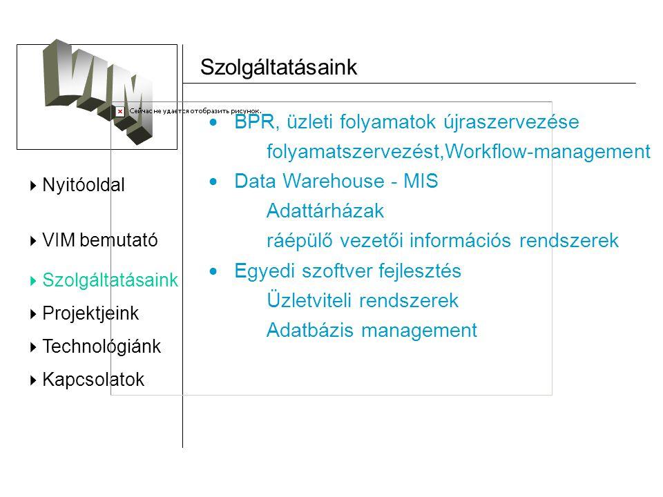  Nyitóoldal  VIM bemutató  Szolgáltatásaink  Projektjeink  Technológiánk  Kapcsolatok Idegennyelvi Továbbképző Központ - ITK_IR teljes vizsgáztatási folyamatának újraszervezése és egyedi informatikai rendszer kifejlesztése.