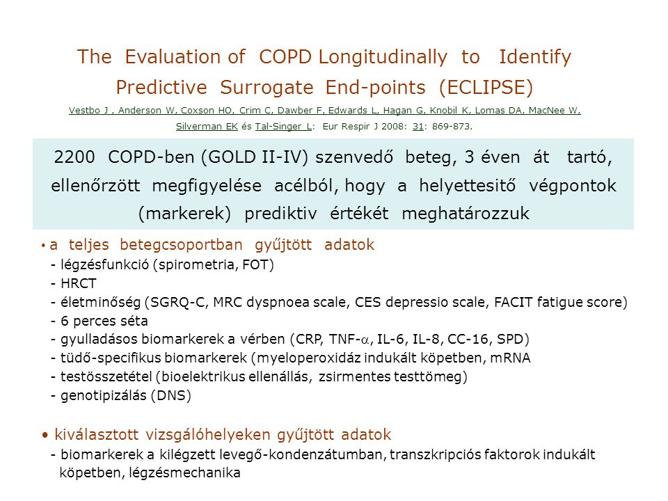 The Evaluation of COPD Longitudinally to Identify Predictive Surrogate End-points (ECLIPSE) Vestbo J, Anderson W, Coxson HO, Crim C, Dawber F, Edwards L, Hagan G, Knobil K, Lomas DA, MacNee W, Silverman EK és Tal-Singer L: Eur Respir J 2008: 31: 869-873.