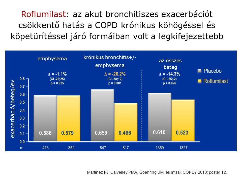 Martinez FJ, Calverley PMA, Goehring UM, és mtsai. COPD7 2010; poster 12. Roflumilast: az akut bronchitiszes exacerbációt csökkentő hatás a COPD króni