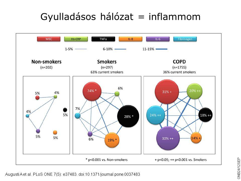 Gyulladásos hálózat = inflammom Augusti A et al. PLoS ONE 7(5): e37483. doi:10.1371/journal.pone.0037483 ONB24/12SEP
