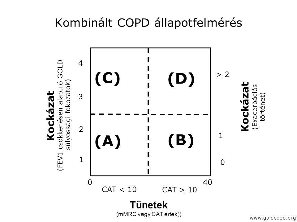 Kombinált COPD állapotfelmérés Kockázat (FEV1 csökkenésen alapuló GOLD súlyossági fokozatok) Kockázat (Exacerbációs történet) > 2 1 0 (C) (D) (A) (B)