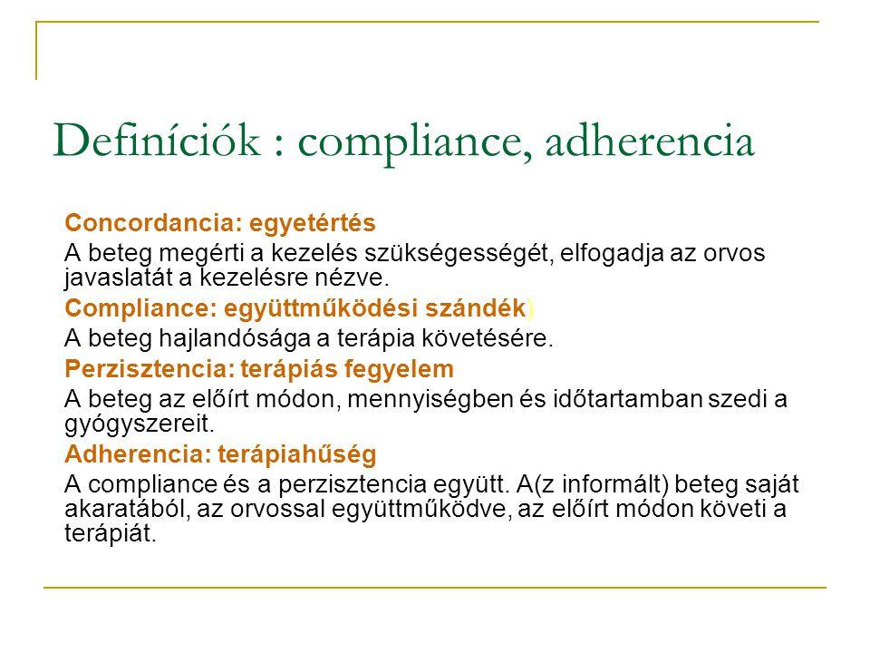 Definíciók : compliance, adherencia Concordancia: egyetértés A beteg megérti a kezelés szükségességét, elfogadja az orvos javaslatát a kezelésre nézve.