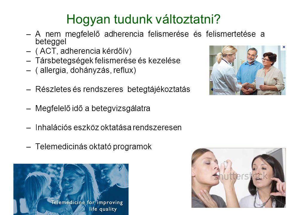 Hogyan tudunk változtatni? –A nem megfelelő adherencia felismerése és felismertetése a beteggel –( ACT, adherencia kérdőív) –Társbetegségek felismerés