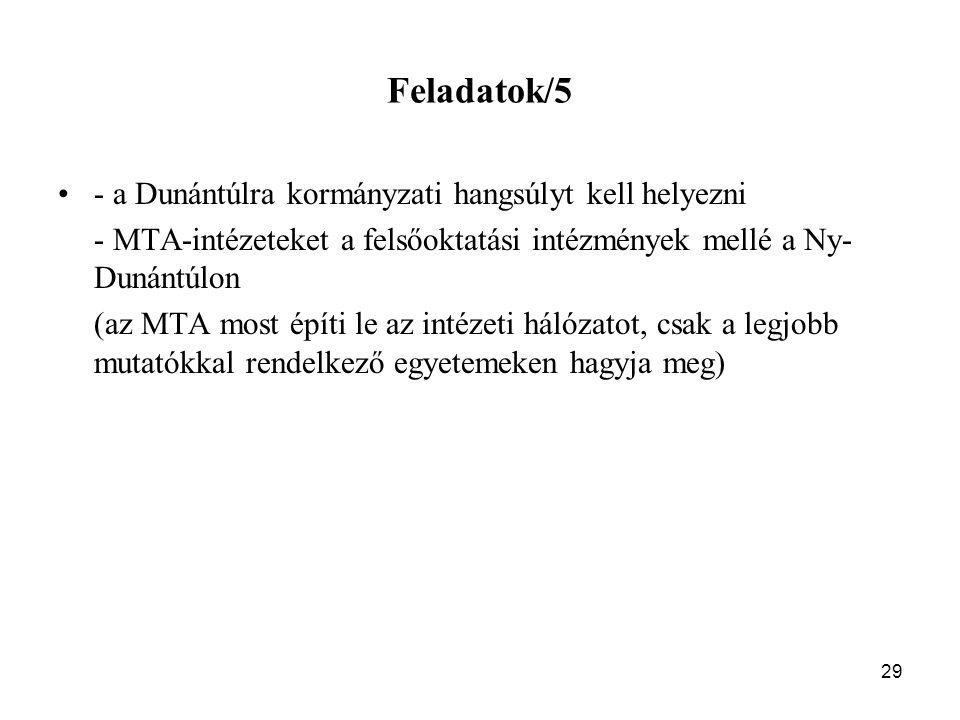 29 Feladatok/5 - a Dunántúlra kormányzati hangsúlyt kell helyezni - MTA-intézeteket a felsőoktatási intézmények mellé a Ny- Dunántúlon (az MTA most építi le az intézeti hálózatot, csak a legjobb mutatókkal rendelkező egyetemeken hagyja meg)