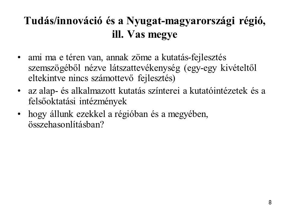 8 Tudás/innováció és a Nyugat-magyarországi régió, ill.