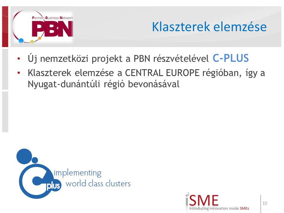 Klaszterek elemzése Új nemzetközi projekt a PBN részvételével C-PLUS Klaszterek elemzése a CENTRAL EUROPE régióban, így a Nyugat-dunántúli régió bevonásával 10