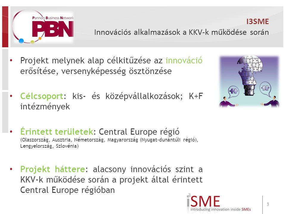 I3SME Innovációs alkalmazások a KKV-k működése során Projekt melynek alap célkitűzése az innováció erősítése, versenyképesség ösztönzése Célcsoport: kis- és középvállalkozások; K+F intézmények Érintett területek: Central Europe régió (Olaszország, Ausztria, Németország, Magyarország (Nyugat-dunántúli régió), Lengyelország, Szlovénia) Projekt háttere: alacsony innovációs szint a KKV-k működése során a projekt által érintett Central Europe régióban 3
