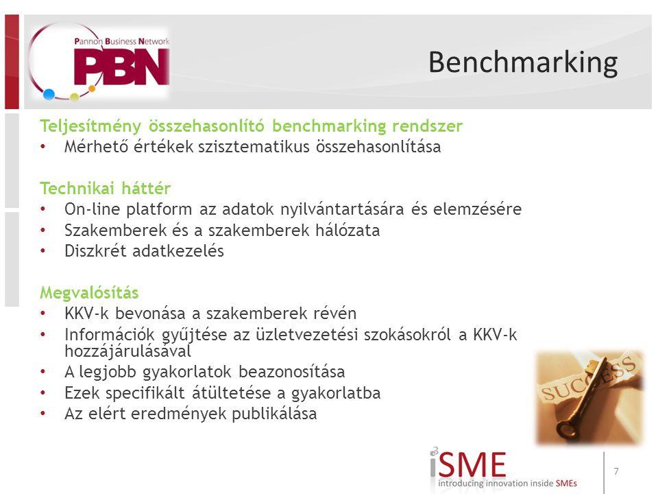 Benchmarking Teljesítmény összehasonlító benchmarking rendszer Mérhető értékek szisztematikus összehasonlítása Technikai háttér On-line platform az adatok nyilvántartására és elemzésére Szakemberek és a szakemberek hálózata Diszkrét adatkezelés Megvalósítás KKV-k bevonása a szakemberek révén Információk gyűjtése az üzletvezetési szokásokról a KKV-k hozzájárulásával A legjobb gyakorlatok beazonosítása Ezek specifikált átültetése a gyakorlatba Az elért eredmények publikálása 7