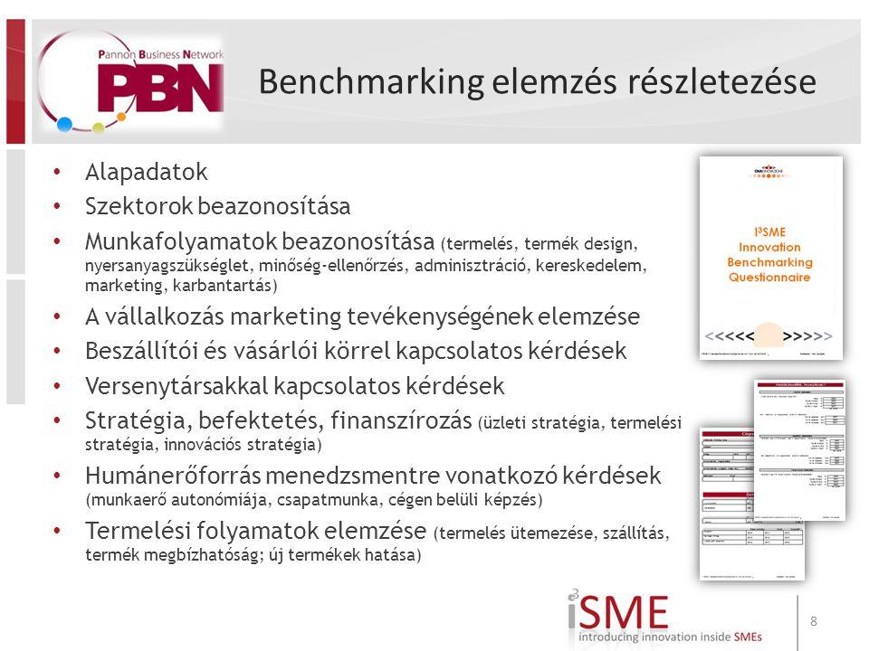Benchmarking elemzés részletezése Alapadatok Szektorok beazonosítása Munkafolyamatok beazonosítása (termelés, termék design, nyersanyagszükséglet, minőség-ellenőrzés, adminisztráció, kereskedelem, marketing, karbantartás) A vállalkozás marketing tevékenységének elemzése Beszállítói és vásárlói körrel kapcsolatos kérdések Versenytársakkal kapcsolatos kérdések Stratégia, befektetés, finanszírozás (üzleti stratégia, termelési stratégia, innovációs stratégia) Humánerőforrás menedzsmentre vonatkozó kérdések (munkaerő autonómiája, csapatmunka, cégen belüli képzés) Termelési folyamatok elemzése (termelés ütemezése, szállítás, termék megbízhatóság; új termékek hatása) 8