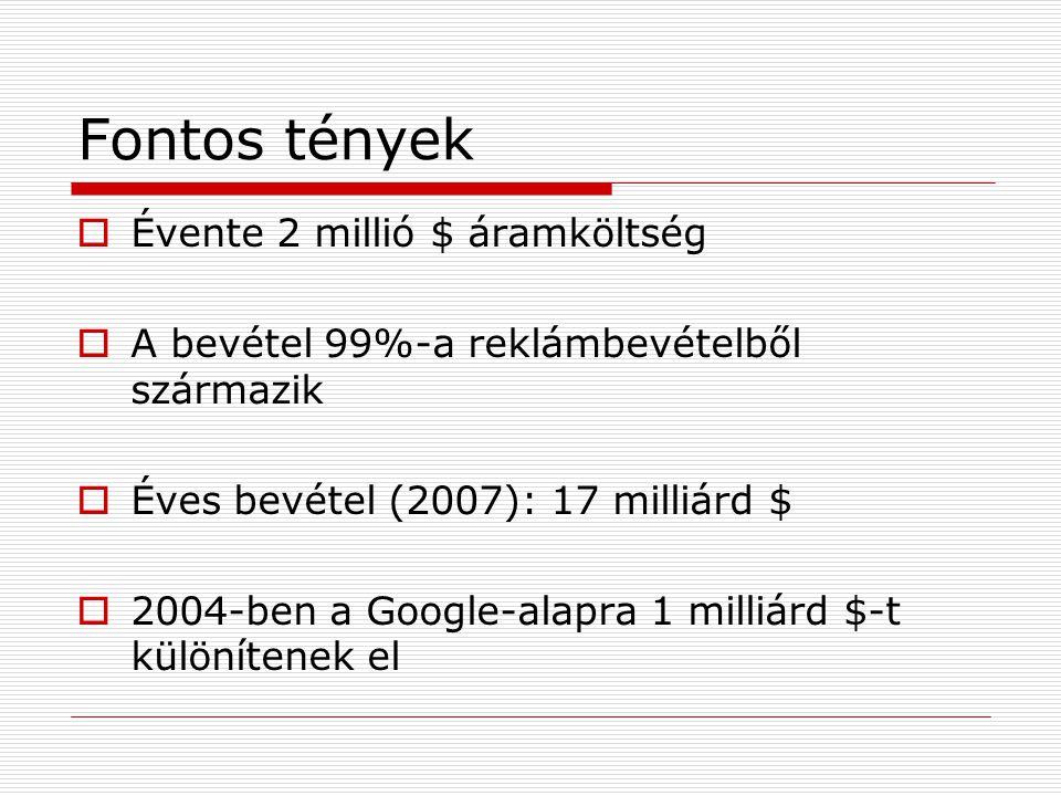 Fontos tények  Évente 2 millió $ áramköltség  A bevétel 99%-a reklámbevételből származik  Éves bevétel (2007): 17 milliárd $  2004-ben a Google-alapra 1 milliárd $-t különítenek el