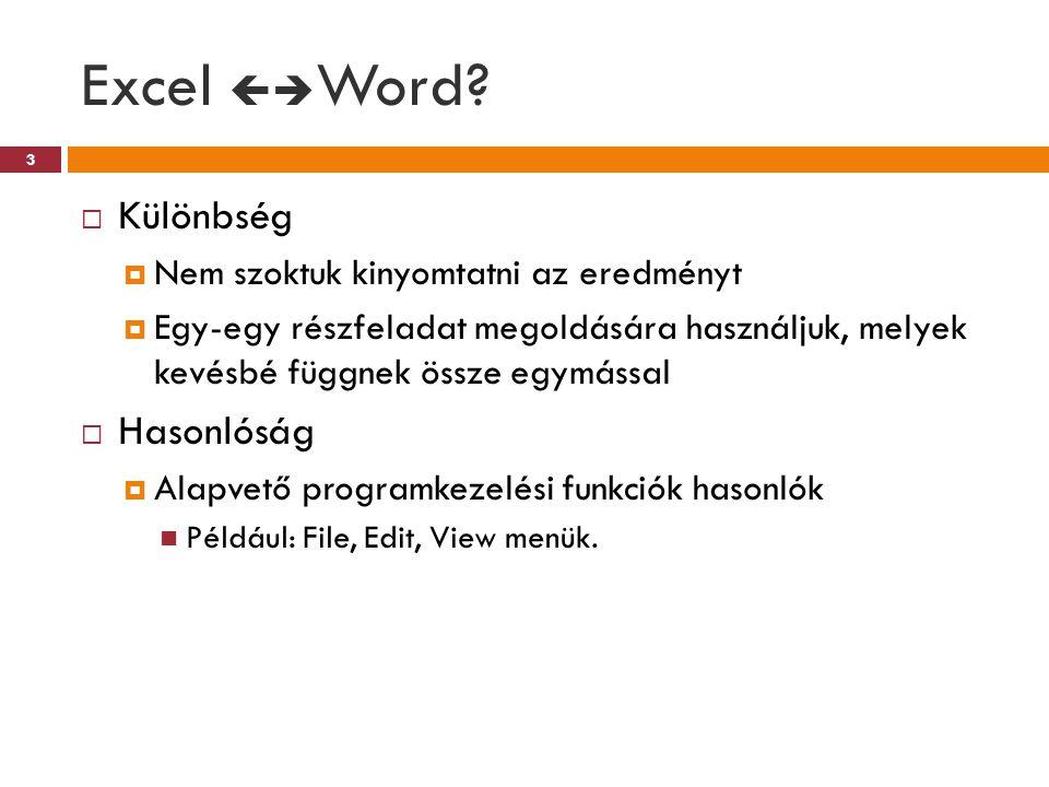 Excel  Word?  Különbség  Nem szoktuk kinyomtatni az eredményt  Egy-egy részfeladat megoldására használjuk, melyek kevésbé függnek össze egymással
