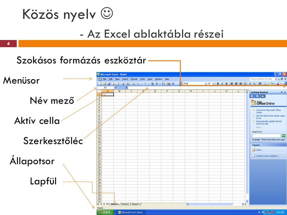 Közös nyelv - Az Excel ablaktábla részei Szerkesztőléc Menüsor Szokásos formázás eszköztár Aktív cella Név mező Állapotsor Lapfül 4