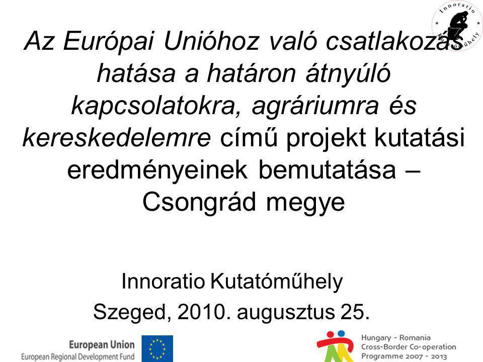 Az Európai Unióhoz való csatlakozás hatása a határon átnyúló kapcsolatokra, agráriumra és kereskedelemre című projekt kutatási eredményeinek bemutatása – Csongrád megye Innoratio Kutatóműhely Szeged, 2010.