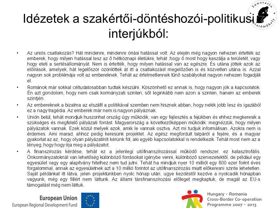 Idézetek a szakértői-döntéshozói-politikusi interjúkból: Az uniós csatlakozás.