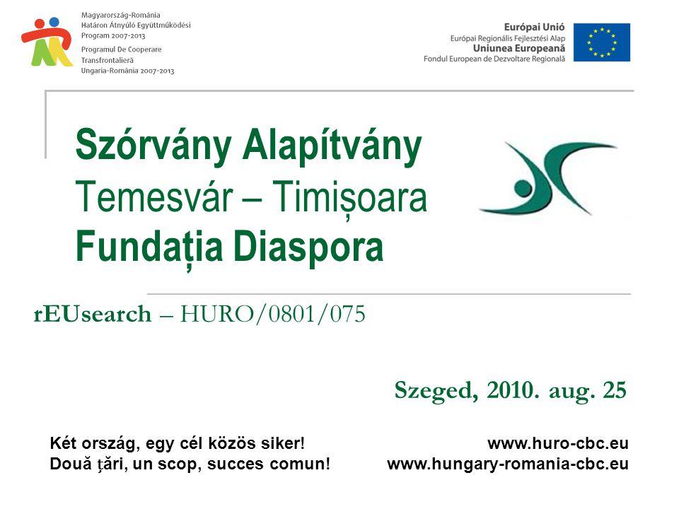 Szórvány Alapítvány Temesvár – Timișoara Fundația Diaspora rEUsearch – HURO/0801/075 Szeged, 2010.
