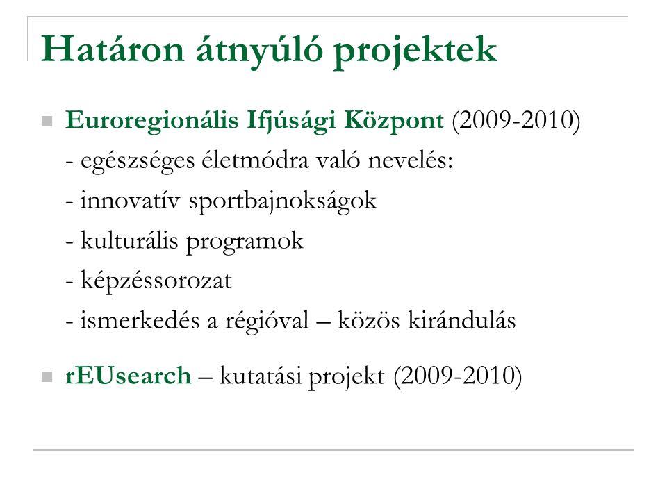 Határon átnyúló projektek Euroregionális Ifjúsági Központ (2009-2010) - egészséges életmódra való nevelés: - innovatív sportbajnokságok - kulturális programok - képzéssorozat - ismerkedés a régióval – közös kirándulás rEUsearch – kutatási projekt (2009-2010)