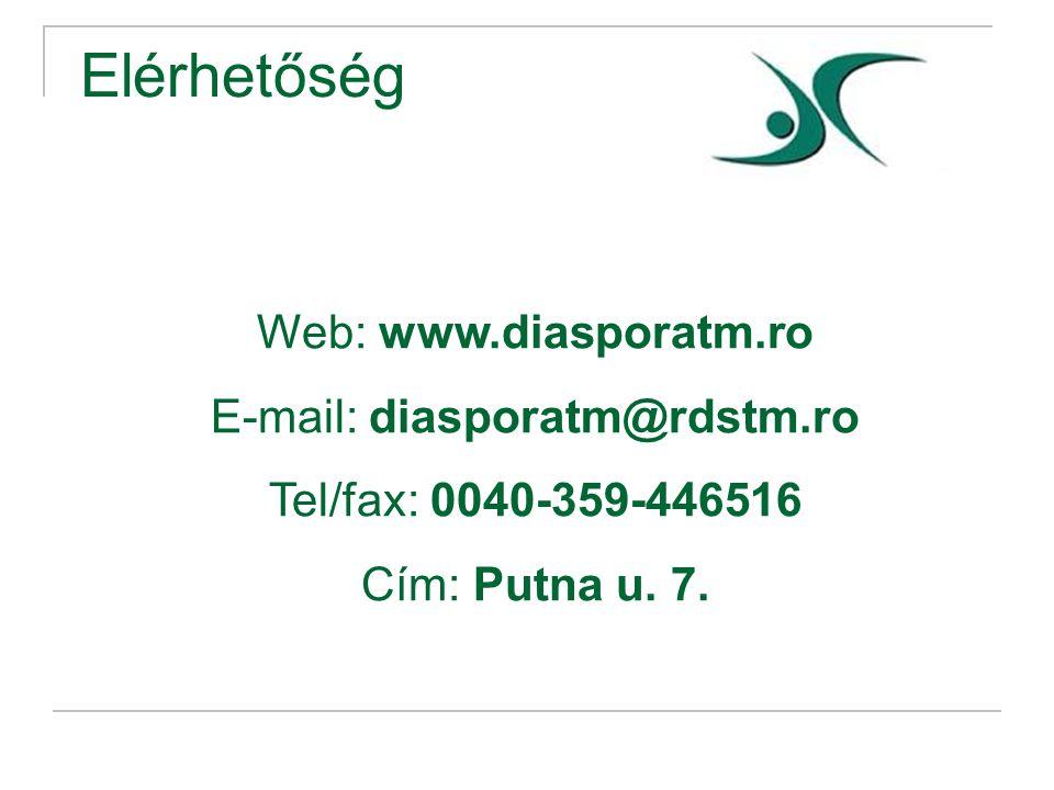 Elérhetőség Web: www.diasporatm.ro E-mail: diasporatm@rdstm.ro Tel/fax: 0040-359-446516 Cím: Putna u.