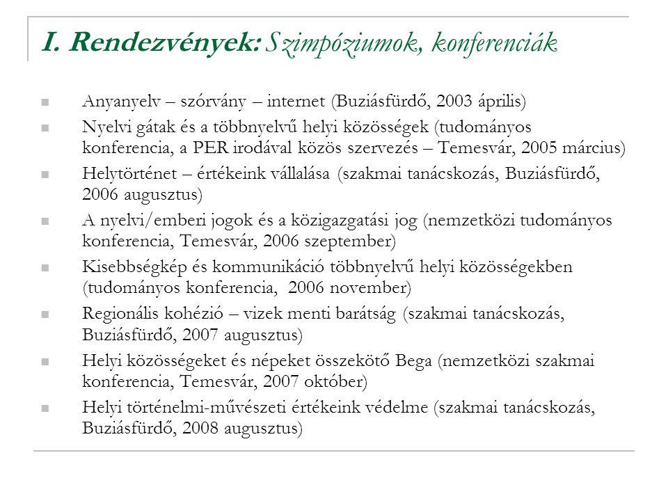 I. Rendezvények: Szimpóziumok, konferenciák Anyanyelv – szórvány – internet (Buziásfürdő, 2003 április) Nyelvi gátak és a többnyelvű helyi közösségek
