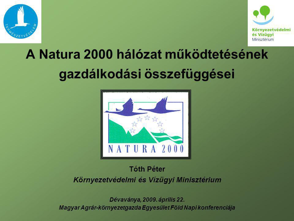A Natura 2000 hálózat működtetésének gazdálkodási összefüggései Tóth Péter Környezetvédelmi és Vízügyi Minisztérium Dévaványa, 2009. április 22. Magya