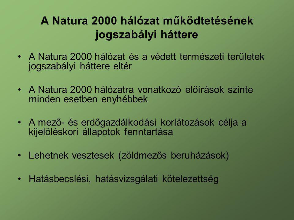A Natura 2000 hálózat működtetésének jogszabályi háttere A Natura 2000 hálózat és a védett természeti területek jogszabályi háttere eltér A Natura 200