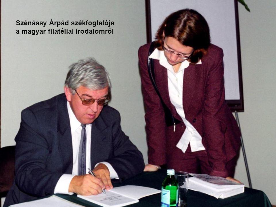 Szénássy Árpád székfoglalója a magyar filatéliai irodalomról