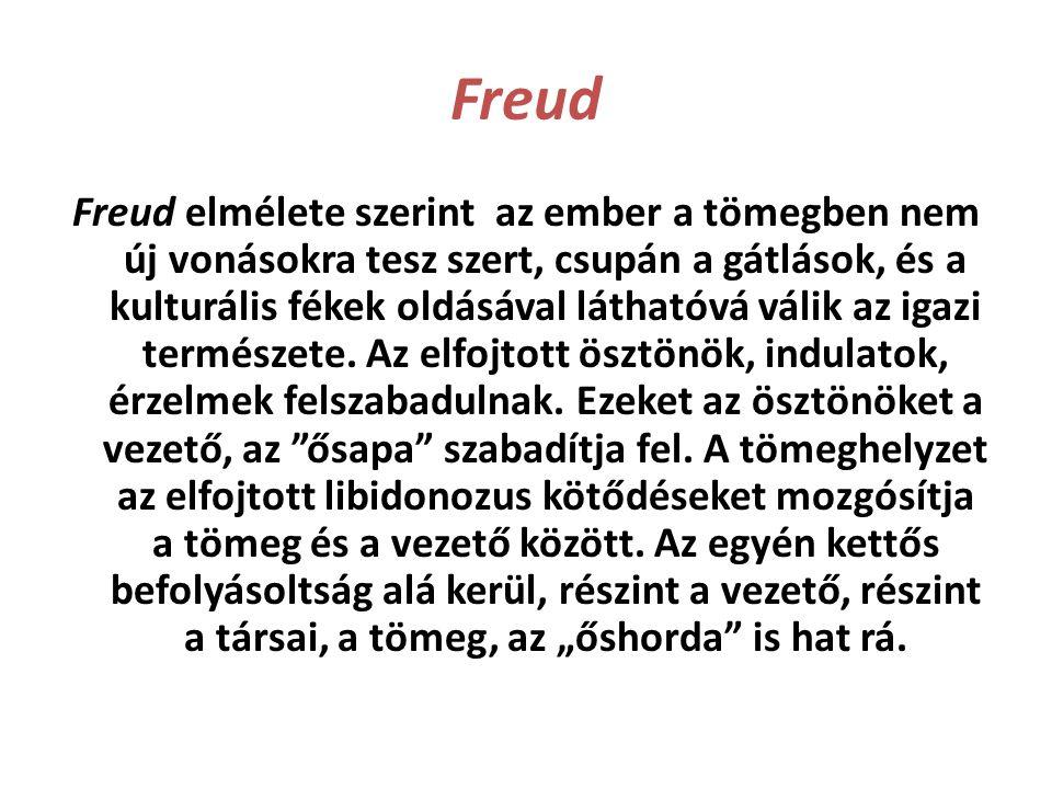 Freud Freud elmélete szerint az ember a tömegben nem új vonásokra tesz szert, csupán a gátlások, és a kulturális fékek oldásával láthatóvá válik az ig