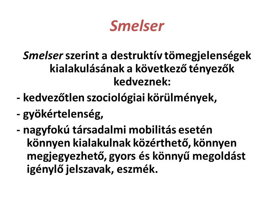 Smelser Smelser szerint a destruktív tömegjelenségek kialakulásának a következő tényezők kedveznek: - kedvezőtlen szociológiai körülmények, - gyökérte
