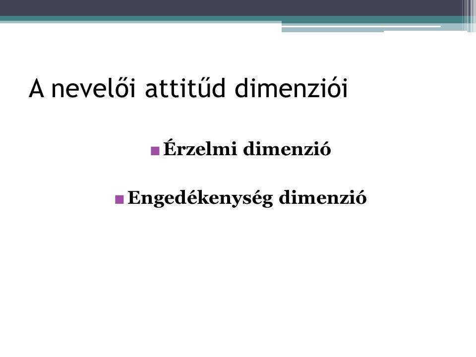 A nevelői attitűd dimenziói ■ Érzelmi dimenzió ■ Engedékenység dimenzió