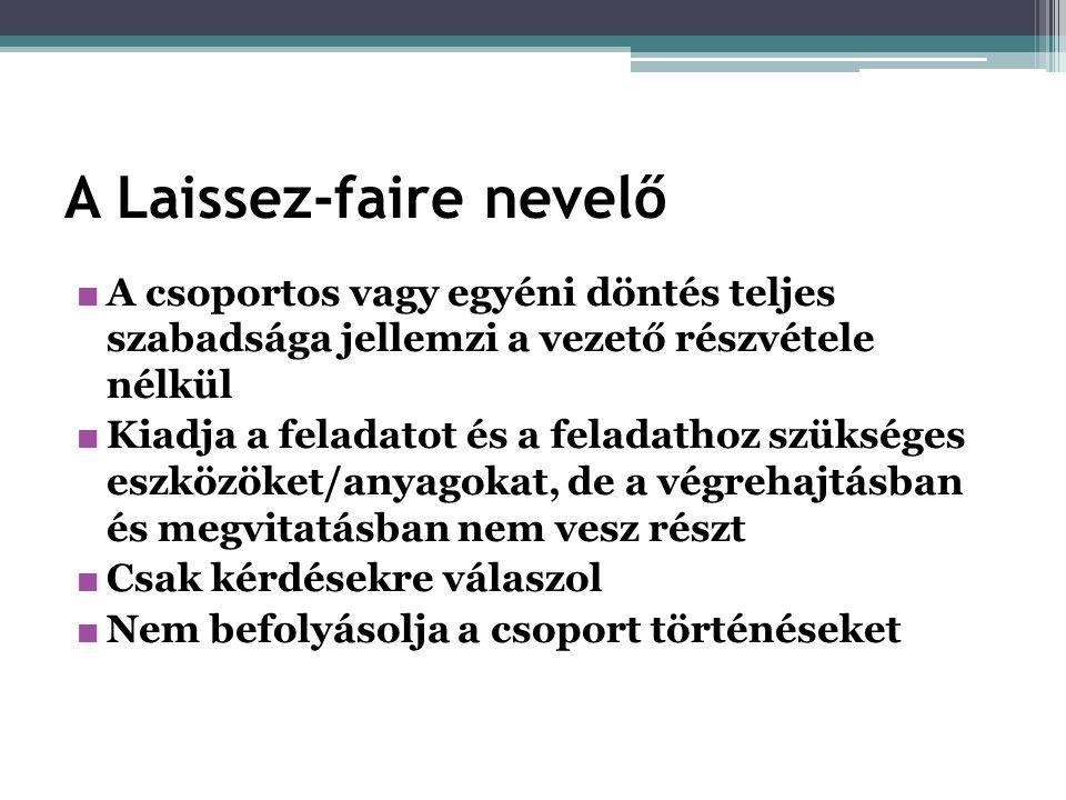 A Laissez-faire nevelő ■ A csoportos vagy egyéni döntés teljes szabadsága jellemzi a vezető részvétele nélkül ■ Kiadja a feladatot és a feladathoz szü