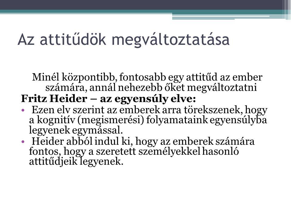 Osgood – az összhang elve Heiderrel szemben nem kognitív (megismerési) egyensúlyról, hanem kognitív (megismerési) összhangról beszél, ezt nevezzük kognitív kongruenciának.