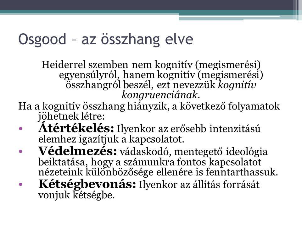 Osgood – az összhang elve Heiderrel szemben nem kognitív (megismerési) egyensúlyról, hanem kognitív (megismerési) összhangról beszél, ezt nevezzük kog