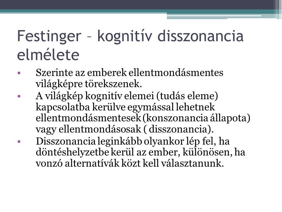 Festinger – kognitív disszonancia elmélete Szerinte az emberek ellentmondásmentes világképre törekszenek. A világkép kognitív elemei (tudás eleme) kap
