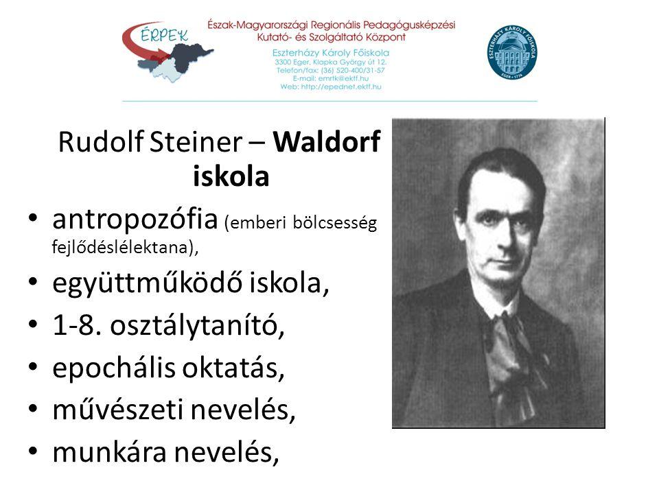 Rudolf Steiner – Waldorf iskola antropozófia (emberi bölcsesség fejlődéslélektana), együttműködő iskola, 1-8. osztálytanító, epochális oktatás, művész