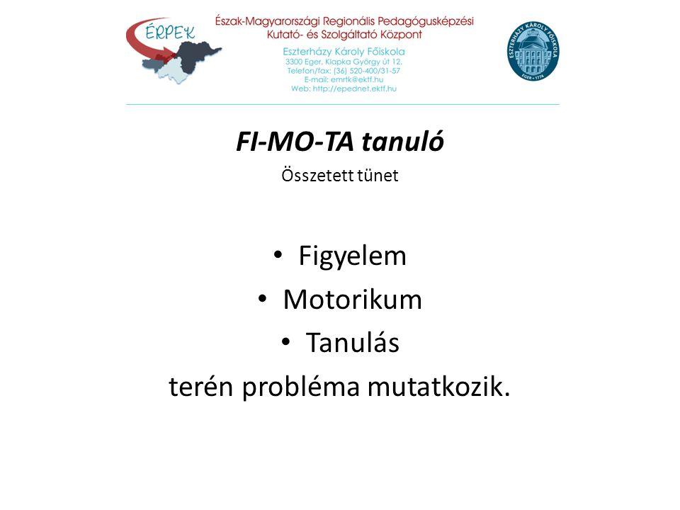 FI-MO-TA tanuló Összetett tünet Figyelem Motorikum Tanulás terén probléma mutatkozik.