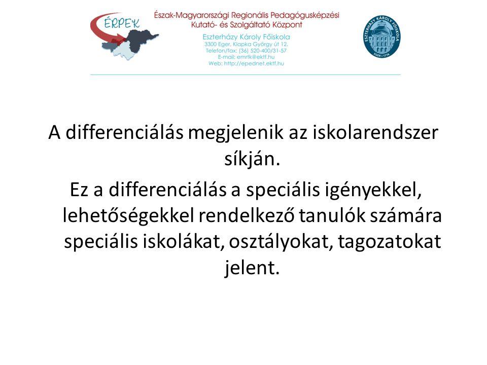 A differenciálás megjelenik az iskolarendszer síkján. Ez a differenciálás a speciális igényekkel, lehetőségekkel rendelkező tanulók számára speciális