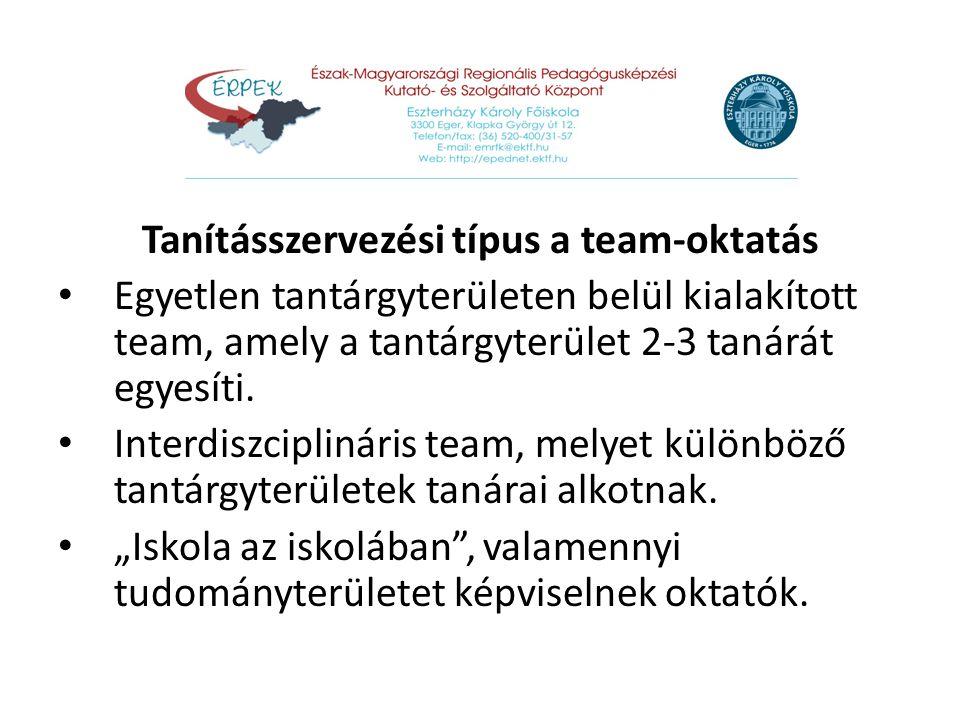 Tanításszervezési típus a team-oktatás Egyetlen tantárgyterületen belül kialakított team, amely a tantárgyterület 2-3 tanárát egyesíti. Interdiszcipli