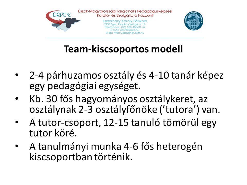 Team-kiscsoportos modell 2-4 párhuzamos osztály és 4-10 tanár képez egy pedagógiai egységet. Kb. 30 fős hagyományos osztálykeret, az osztálynak 2-3 os