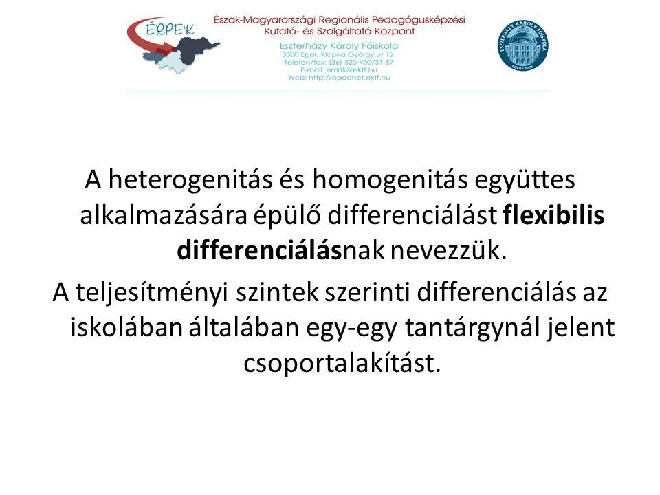 A heterogenitás és homogenitás együttes alkalmazására épülő differenciálást flexibilis differenciálásnak nevezzük. A teljesítményi szintek szerinti di