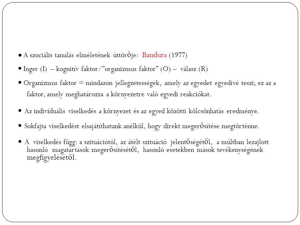  A szociális tanulás elméletének úttör ő je: Bandura (1977)  Inger (I) – kognitív faktor/ organizmus faktor (O) – válasz (R)  Organizmus faktor = mindazon jellegzetességek, amely az egyedet egyedivé teszi; ez az a faktor, amely meghatározza a környezetre való egyedi reakciókat.